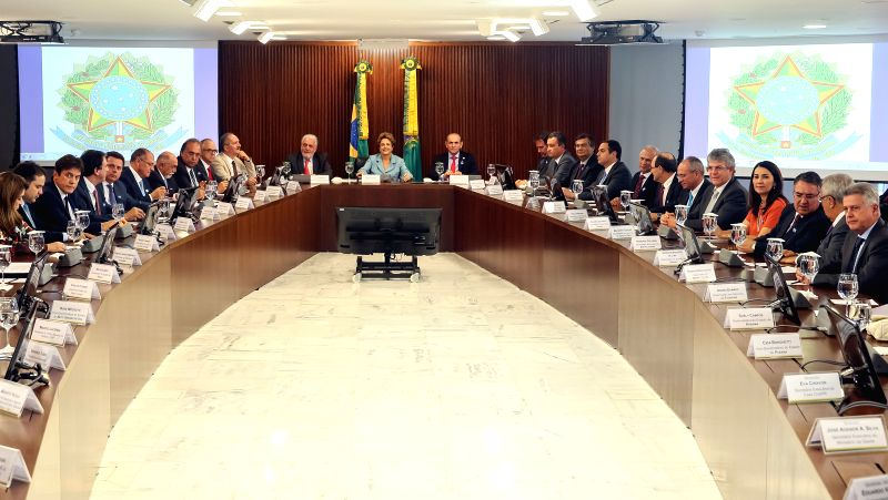 Image provided by Brazil's Presidency shows Brazil's President Dilma Rousseff (C) taking part in a meeting with Governors of various states in the Planalto Palace, ...