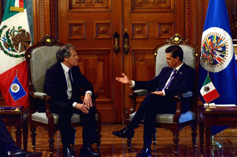 Image provided by Mexico's Presidency shows Mexican President Enrique Pena Nieto (R) meeting with Luis Almagro (L), Secretary General of the Organization of ...