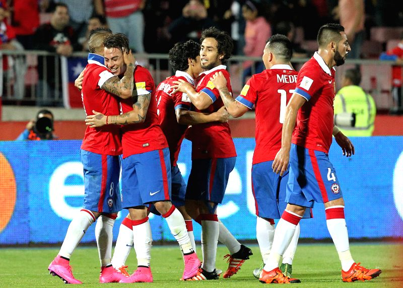 Image provided by the Chilean Football Federation (ANFP, for its acronym in Spanish) shows Chilean players celebrating a score during the qualifying match for the ...
