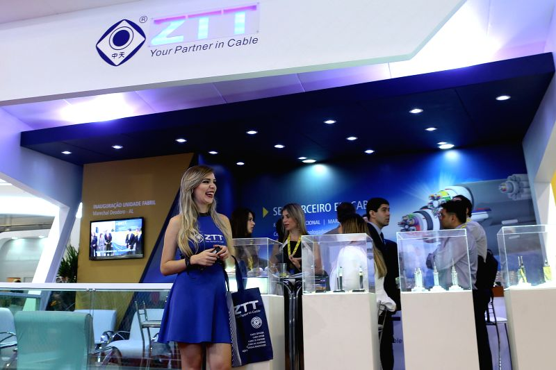 """Image taken on Oct. 28, 2015 shows the stand of the Chinese company ZTT during the """"Futurecom 2015"""", in Sao Paulo, Brazil. According to local press, ..."""