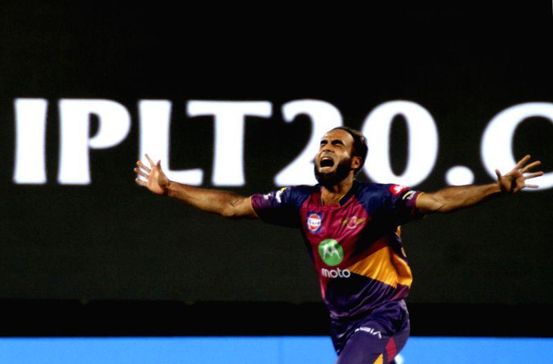Imran Tahir of Rising Pune Supergiants celebrates fall of Sam Billings' wicket during an IPL 2017 match between Rising Pune Supergiant and Delhi Daredevils at Maharashtra Cricket Association ...