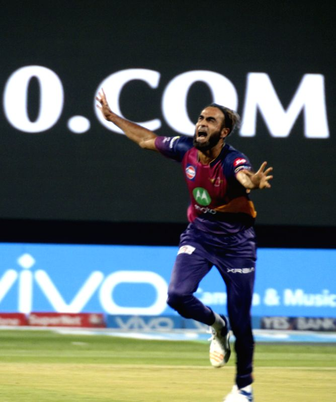Imran Tahir of Rising Pune Supergiants celebrates fall of Sam Billings' wicket during an IPL 2017 match between Rising Pune Supergiant and Delhi Daredevils at Maharashtra Cricket Association ...