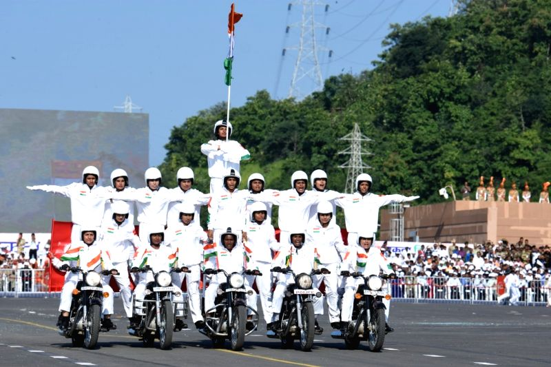 """In a first, a team of over 50 women bikers from Central Reserve Police Force (CRPF) would be showcasing """"aerobic frills and finesse a among other stunts on grandeur-laced Rajpath on the occasion of 71st Republic Day celebration."""