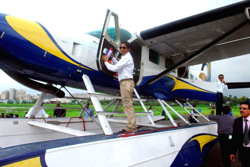 Inauguration of seaplanes at Juhu airport in Mumbai on Aug 25, 2014. The seaplane service, has been launched by the Maritime Energy Heli Air Services Pvt. Ltd. (MEHAIR) in collaboration with the ...
