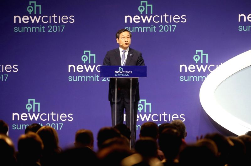 Incheon Mayor Yoo Jeong-bok delivers a keynote speech during the 2017 New Cities Summit at a convention center in Incheon, west of Seoul, on June 8, 2017. The annual event is designed to ...