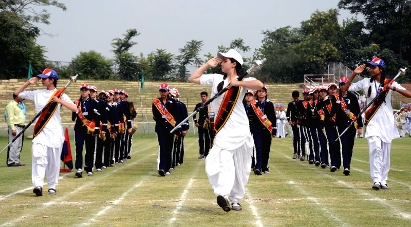 Independence Day rehearsals underway at Bakshi Stadium in Srinagar on Aug 13, 2014.