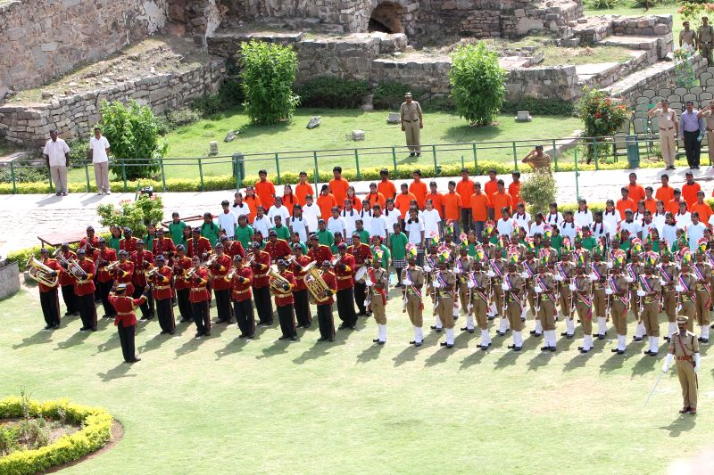 Independence Day rehearsals underway at Golkonda Fort, some 11 km away from Hyderabad on Aug 12, 2014.