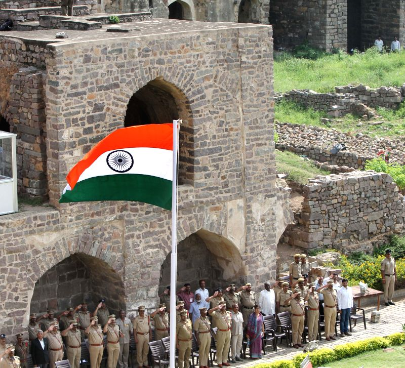 Independence Day rehearsals underway at Golkonda Fort, some 11 km away from Hyderabad on Aug 13, 2014.