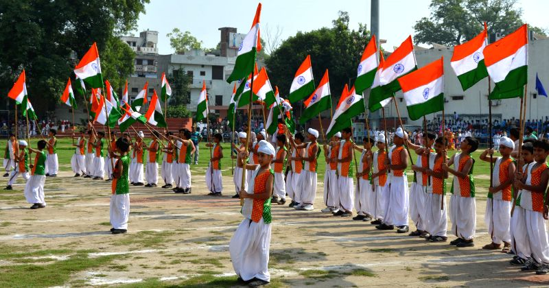 Independence Day rehearsals underway at Guru Nanak Stadium in Amritsar on Aug 13, 2014.