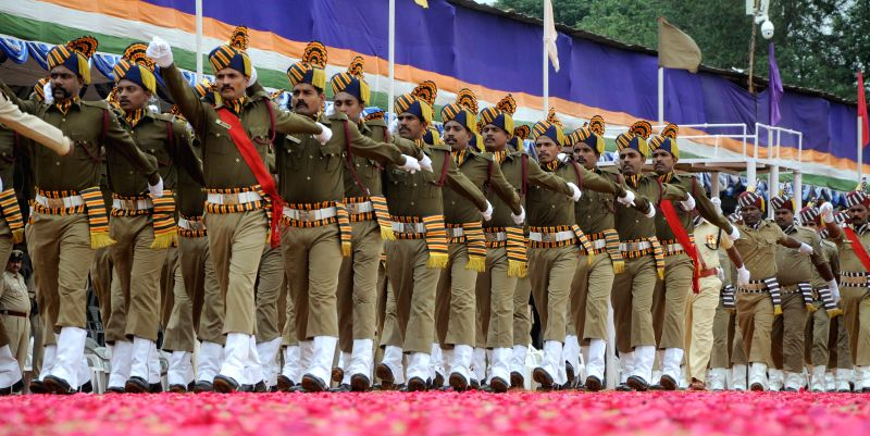 Independence Day rehearsals underway at Manekshaw parade grounds in Bangalore on Aug 13, 2014.