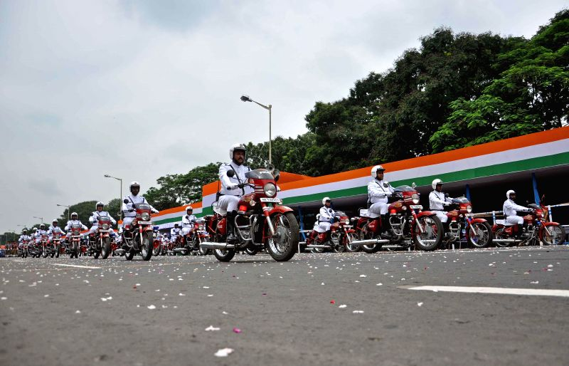 Independence Day rehearsals underway at Red Road in Kolkata on Aug 13, 2014.