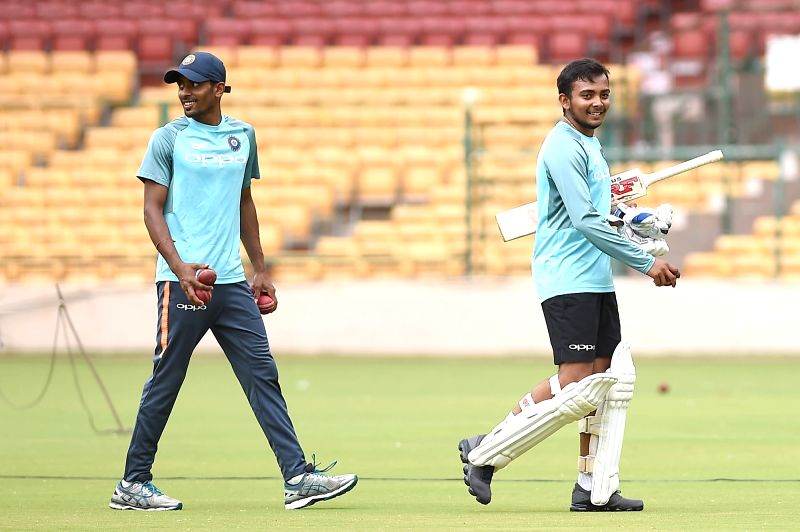 India A cricketers Hanuma Vihari and Prithvi Shaw during a practice session ahead of  a four-day matches against South Africa A at M Chinnaswamy stadium, in Bengaluru, on  Aug 3, 2018
