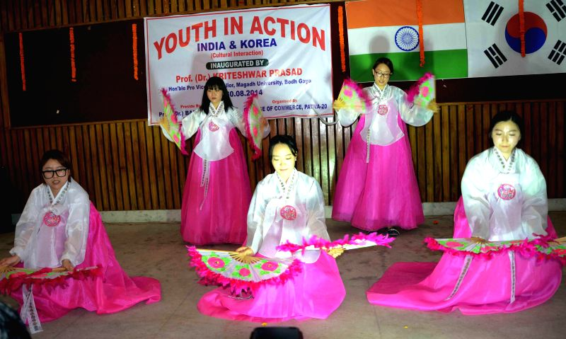India and Korea cultural interaction program at the college of commerce in Patna, Bihar on Aug. 30, 2014.