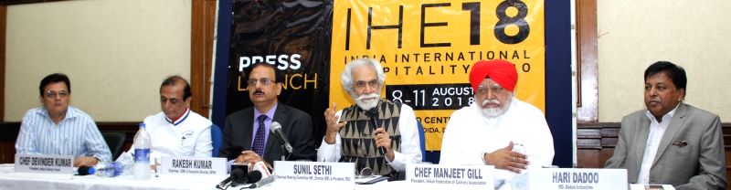 India Exposition Mart Limited Chairman Sunil Sethi addresses a press conference regarding India International Hospitality Expo 2018, in New Delhi, on Aug 6, 2018.