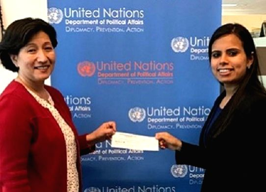 India has contributed $250,000 to the United Nations electoral assistance and capacity building programmes. Eenam Gambhir, a First Secretary in India\'s UN mission, right, presented the cheque to ...