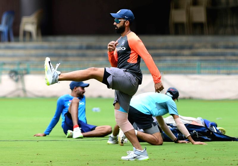 India's Ajinkya Rahane during a practice session ahead of their maiden cricket test match against Afghanistan in Bengaluru on June 12, 2018.