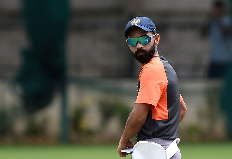 India's Ajinkya Rahane during a practice session ahead of their maiden cricket test match against Afghanistan in Bengaluru on June 13, 2018.