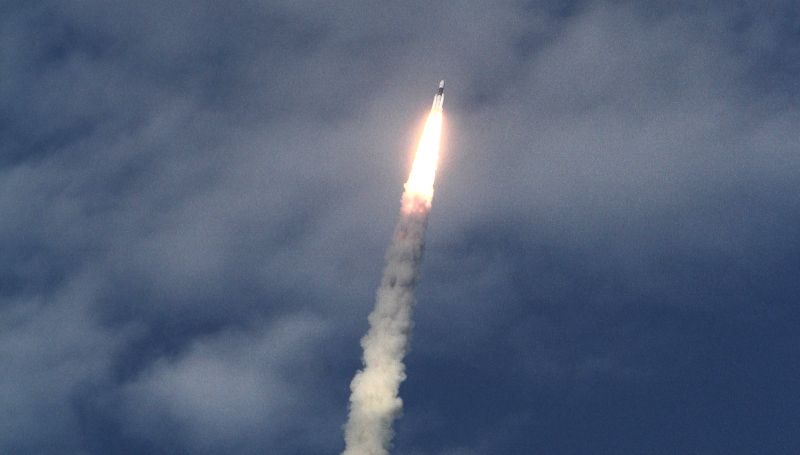 India's brand new and heaviest rocket - the Geosynchronous Satellite Launch Vehicle-Mark III (GSLV-Mk III) - with the 3,136 kg communication satellite GSAT-19 on board, seen tearing into the ...