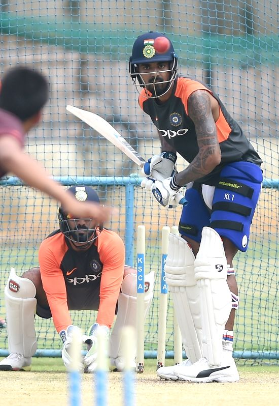India's Dinesh Karthik during a practice session ahead of their maiden cricket test match against Afghanistan in Bengaluru on June 13, 2018.