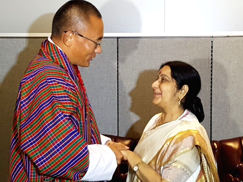 India's External Affairs Minister Sushma Swaraj met Monday with Bhutan Prime Minister Tshering Tobgay on Monday, Sept. 18, 2017, in New York, where they are both attending the United Nations annual ...