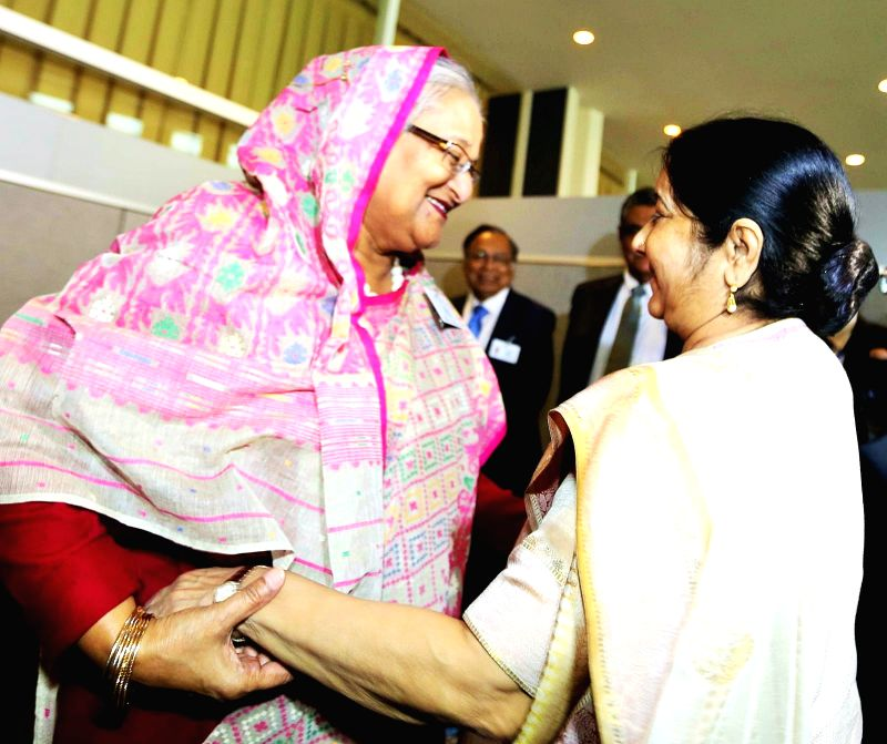 India's External Affairs Minister Sushma Swaraj paid a courtesy call on Bangladesh Prime Minister Sheikh Hasina on Monday, Sept. 18, 2017, in New York, where they are both attending the United ...