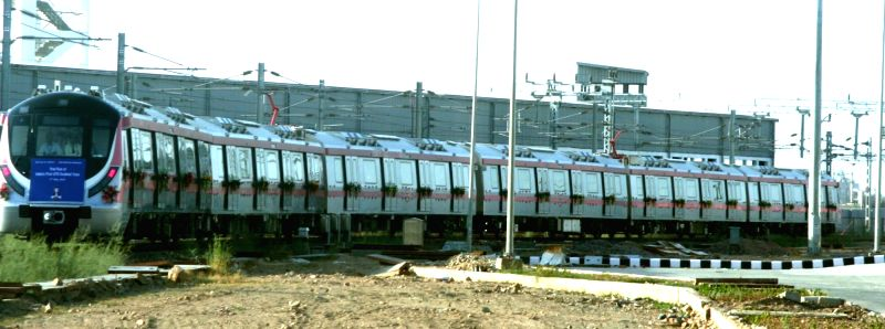 India's first-ever driver-less metro train during trial runs in New Delhi on May 17, 2016.