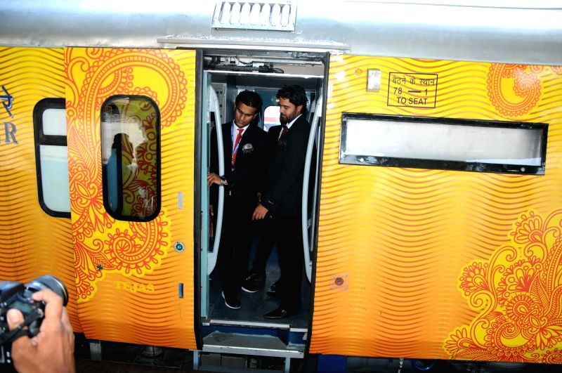 India's first Tejas rake that offers enhanced passenger comfort, communications and entertainment facilities stationed at Chhatrapati Shivaji Terminus railway station in Mumbai on May 21, ...