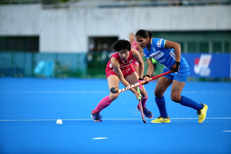 India's Gurjit Kaur in action during the FIH Women's Series Finals in Hiroshima, Japan.