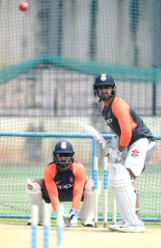 India's Karun Nair during a practice session ahead of their maiden cricket test match against Afghanistan in Bengaluru on June 13, 2018.