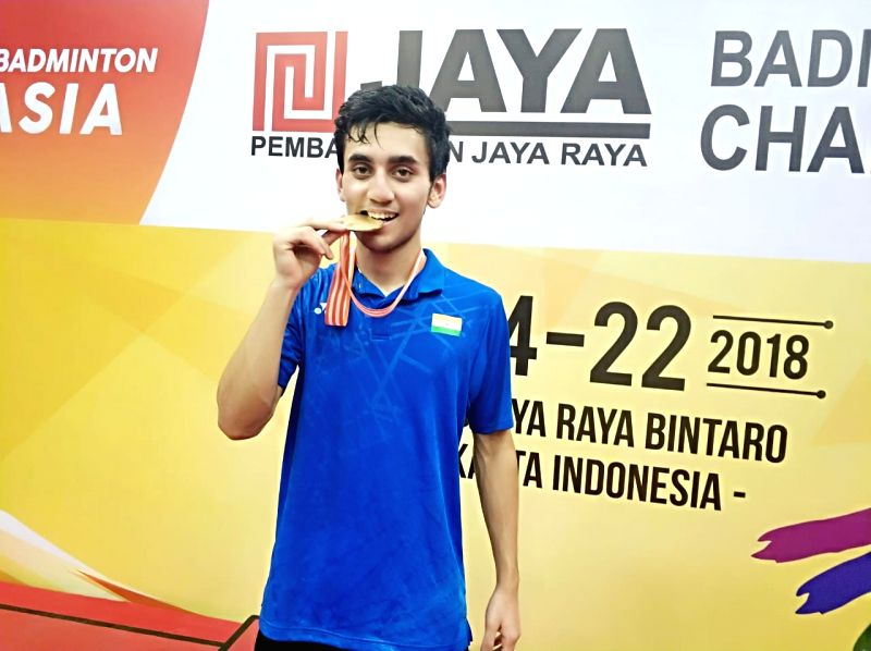India's Lakshya Sen, who won the gold medal in the men's singles category of the Badminton Asia Junior Championships in Jakarta, Indonesia on July 22, 2018.