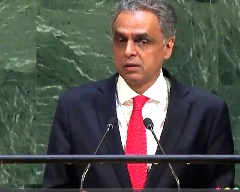 India's Permanent Representative to the United Nations, Syed Akbaruddin speaks at the United Nations General Assembly on Tuesday, Oct. 3, 2017. (Photo credit: UN/via IANS)