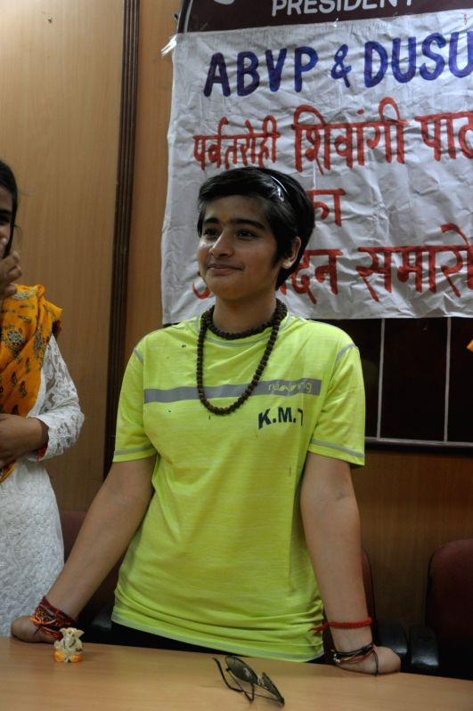 India's youngest woman Mount Everest climber Shivangi Pathak during a felicitation programme hosted by Akhil Bharatiya Vidyarthi Parishad (ABVP) and Delhi University Students' Union ... - Shivangi Pathak
