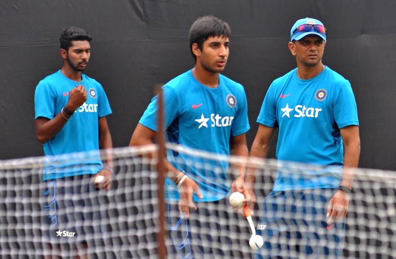 India Under-19 team coach Rahul Dravid during a practice session in Kolkata, on Nov 17, 2015.