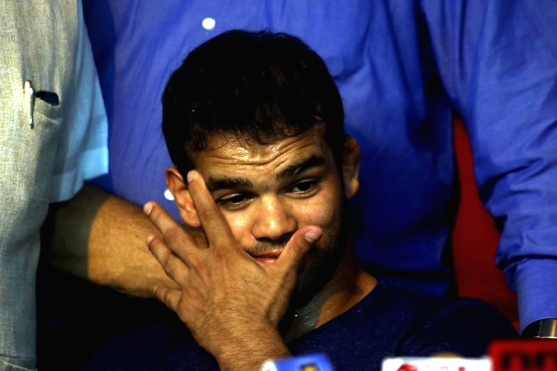 India Wrestler Wrestler Narsingh Yadav addresses a press conference after being exonerated of doping charges by the National Anti Doping Agency (NADA) panel in New Delhi, on Aug 1, 2016. - Wrestler Narsingh Yadav