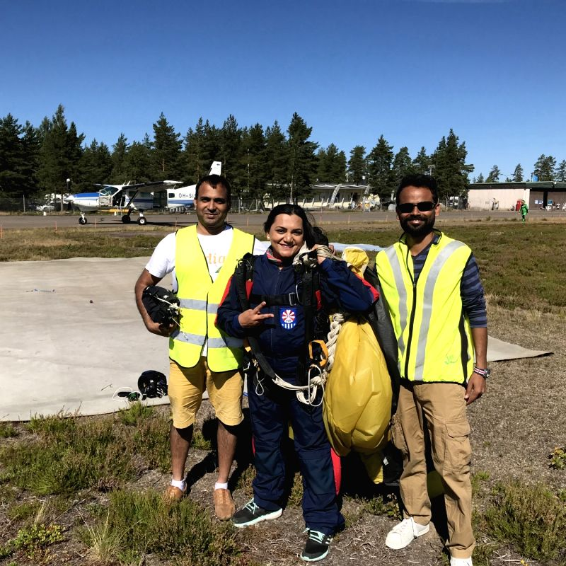 Indian adventurist Shital Rane-Mahajan who dived from over 5000 feet height in the Finland skies with the Indian Tricolour to mark the 72nd Independence Day celebrations; in Helsinki, ...(Image Source: IANS)