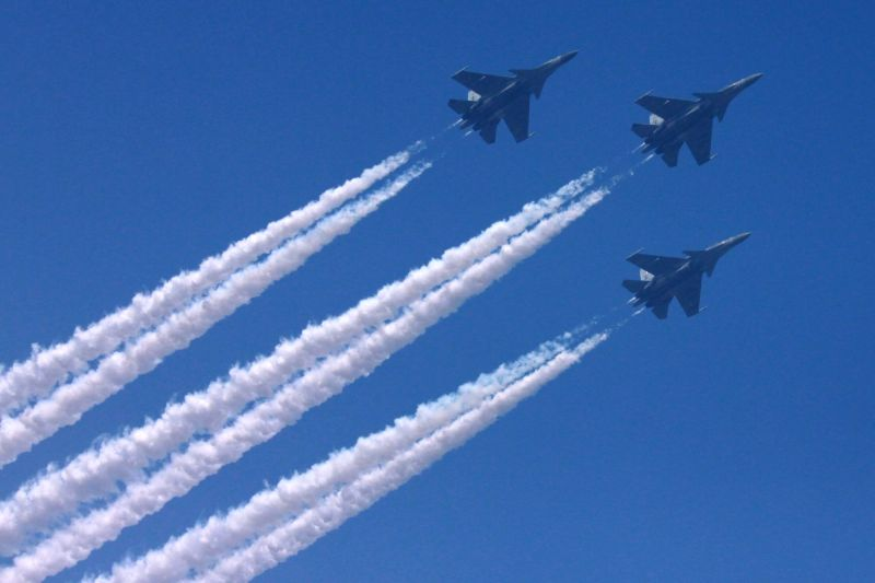 Indian Air Force (IAF) aircrafts flypast over Rajpath during full dress rehearsal for Indian Republic Day parade in New Delhi on Jan 23, 2016.