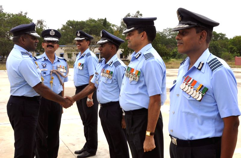 Indian Air Force, Maintenance Command, Air Officer Commanding-in-Chief, Air Marshal P Kanakaraj interacts with Indian Air Force personnel at the Avadi Air Force Station in Chennai on June 23, 2014.