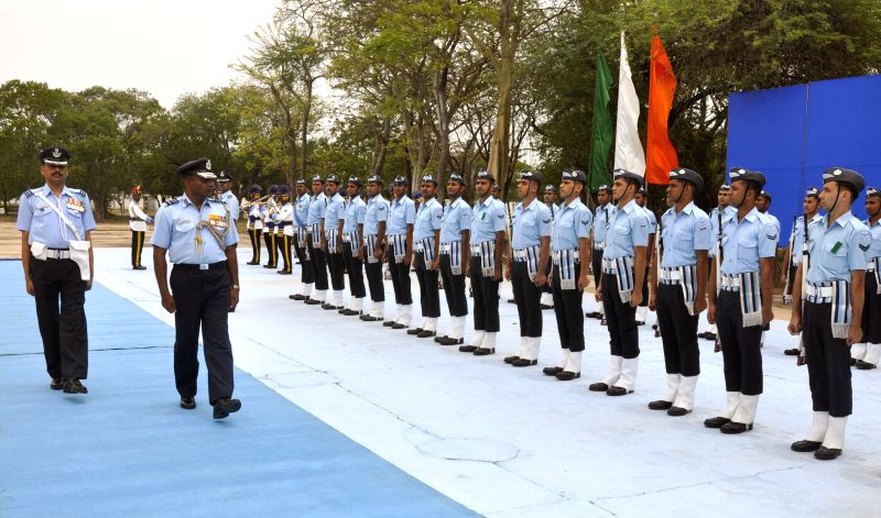 Indian Air Force, Maintenance Command, Air Officer Commanding-in-Chief, Air Marshal P Kanakaraj inspects guard of honour at Air Force Station, Avadi in Chennai on June 23, 2014.
