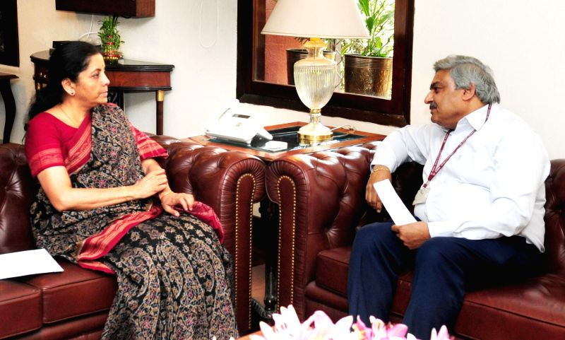 Indian Ambassador to Italy Anil Wadhwa calls on Union MoS for Commerce and Industry Nirmala Sitharaman, in New Delhi on May 4, 2017.