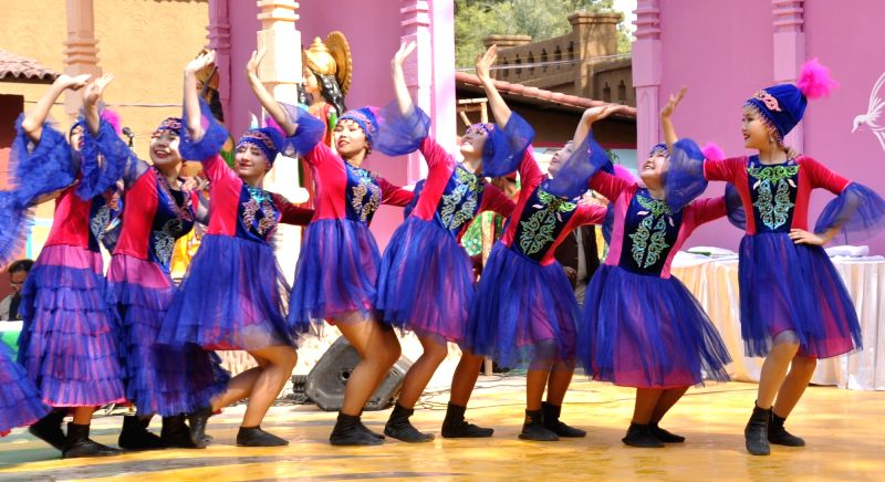 Indian and Kyrgyz Folk artistes perform during a press preview ahead of Surajkund Mela in Faridabad on Feb 1, 2018.