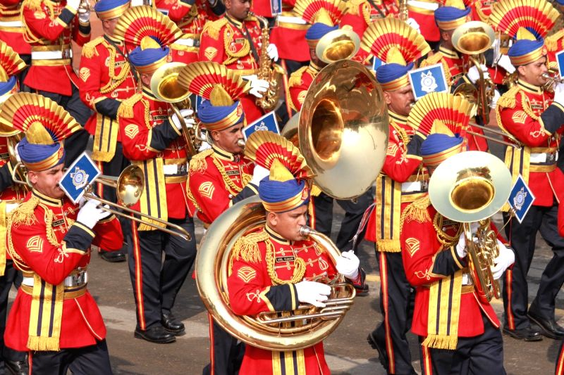 Indian Army Band march during full dress rehearsal for Indian Republic Day parade at Rajpath in New Delhi on Jan 23, 2016.