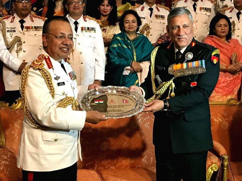 Indian Army chief Gen Bipin Rawat congratulates and presents memento to Nepal Army chief Gen Rajendra Chhetri on the occasion Nepal Army Day 2018 in Kathmandu, Nepal on Feb 13, 2018.