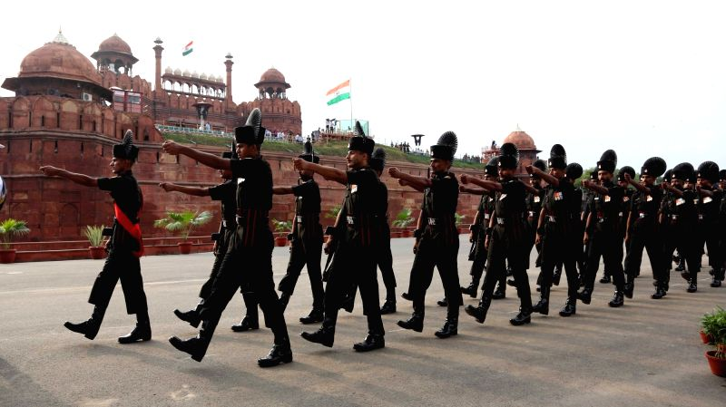 Indian Army contingent take part during the first full dress rehearsal for the Independence Day celebrations 2018 at Red Fort in New Delhi on on Aug 11, 2018.