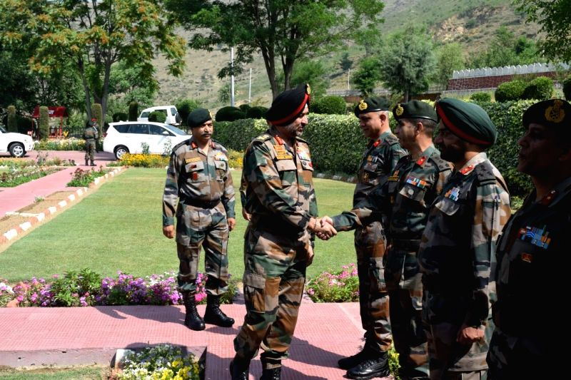 Indian Army's Northern Command chief Lt Gen Ranbir Singh meets officers of army units deployed in South Kashmir, on June 7, 2018. - Ranbir Singh