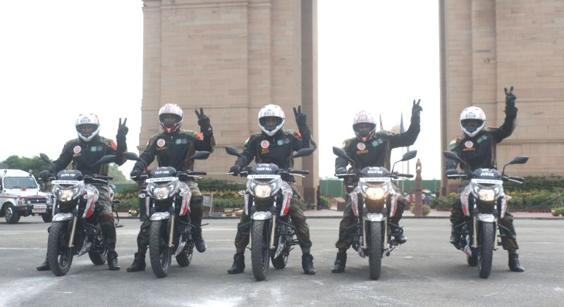 Indian Army's 'Shwet Ashwa' motorcycle riders at India gate in new Delhi on July 13, 2018. The bikers are riding from Bengaluru to Kargil, Dras to celebrate India's victory in Kargil War.
