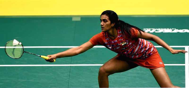 Indian badminton player P V Sindhu in action during the Macau Grand Prix Golden Grand Prix women's singles at Tap Seac Multi-sports Pavilion on Nov 25, 2015.