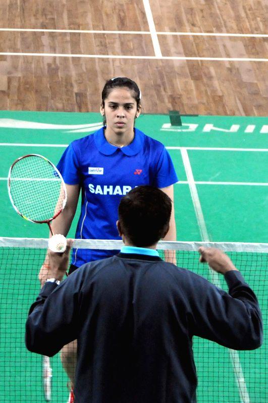 Indian badminton player Saina Nehwal during practice session at Karnataka Badminton Association in Bangalore on Sept 4, 2014.