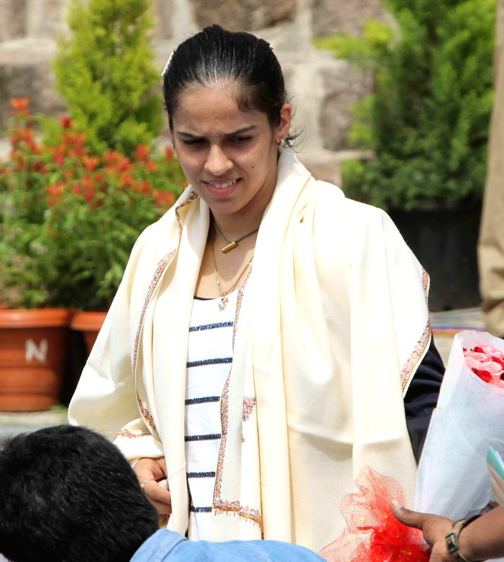 Indian badminton player Saina Nehwal during 68th Independence Day celebrations at Golkonda Fort, some 11 km away from Hyderabad on Aug 15, 2014.