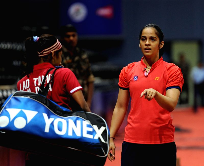 Indian badminton player Saina Nehwal during a practice session ahead of Thomas Cup and Uber Cup badminton championship at Siri Fort Stadium in New Delhi on May 16, 2014.