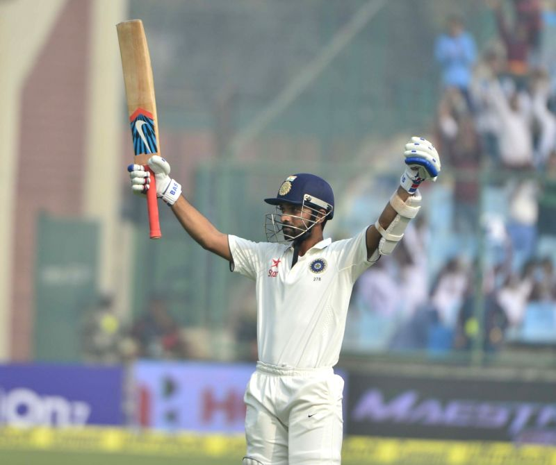 Indian batsman Ajinkya Rahane celebrates his century during the fourth day of the Fourth and the final test match between India and South Africa at the Feroz Shah Kotla Stadium in New ... - Ajinkya Rahane
